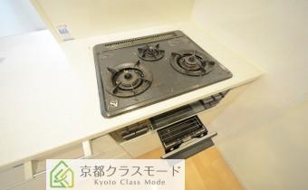 3口ガスコンロ(魚焼きグリル付き)