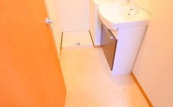 脱衣スペース ※室内写真は同マンション内の1Kタイプのものです。