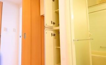 脱衣所の収納 ※室内写真は同マンション内の別のお部屋のものです。